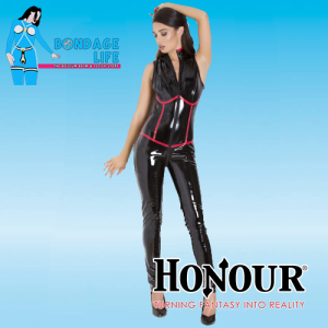 Voel je een echte feeks in dit zwarte mouwloze catsuit met rondlopende accentuerende rode details. Dit catsuit heeft een tweewegritssluiting die loopt van de onderkant van de achterkant tot aan de nek voor gemakkelijk in- en uitstappen.