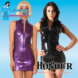 Latex Front Zip Polo Dress